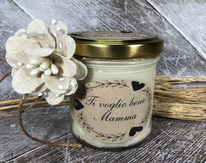 Ti voglio bene Mamma Idea Regalo Candela personalizzata in cera di soia oli essenziali stoppino in legno Festa della Mamma Regalo di Natale