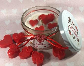 San Valentino Candela in cera di soia e oli essenziali personalizzata e con cuori rossi all'interno Regalo per fidanzata, compagna, moglie