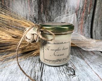 Ti voglio bene Nonna Idea Regalo Vasetto con candela personalizzabile cera di soia oli essenziali stoppino in legno Festa dei Nonni