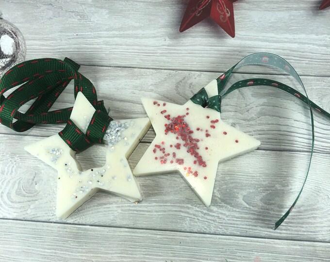 2 decorazioni profumate a forma di stella in cera di soia e olio essenziale con glitter regalo di natale decorazione casa omaggio ai clienti