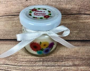 Gerbere 5 mini candele profumi misti in vasetto con tappo personalizzato Segnaposto matrimonio comunione battesimo regali fine festa