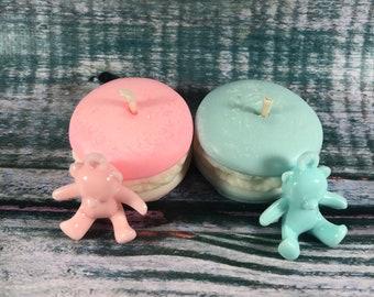 12 candeline in cera di soia profumata a forma di dolcetto macaron segnaposto regalino fine festa nascita battesimo baby shower compleanno