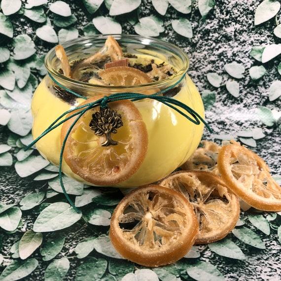 Candela al Limone e Menta in cera di soia e oli essenziali profumatissima 100% naturale