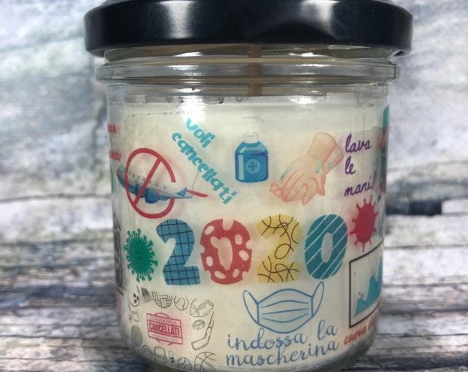 2020 anno da ricordare o da dimenticare candela con frasi e disegni che ricordano il 2020 idea regalo lockdown quarantena DAD resto a casa