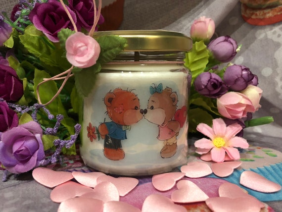Orsetti innamorati Vasetto con candela idea regalo fidanzata moglie compagna Anniversario Fidanzamento Matrimonio San Valentino Ti amo