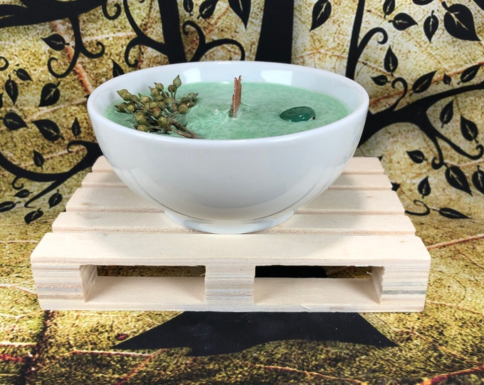 Candela con Avventurina e decorazione floreale in cera di soia e oli essenziali al muschio mela verde albero del tè da meditazione profumata