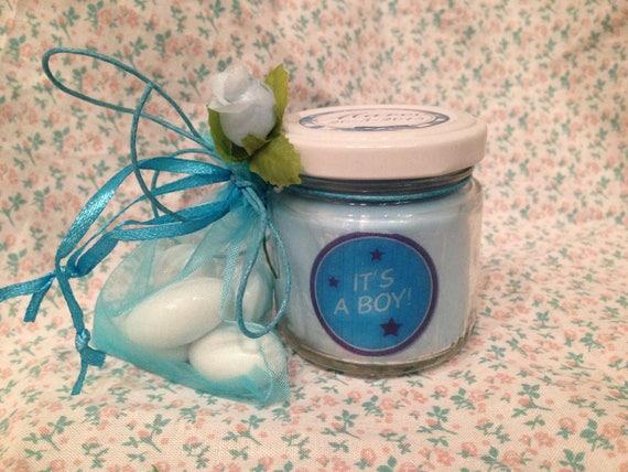 Bomboniera Nascita o Battesimo Maschio - 25 vasetti confezionati (scritta sull'etichetta, sacchetto e confetti) con candele di cera di soia