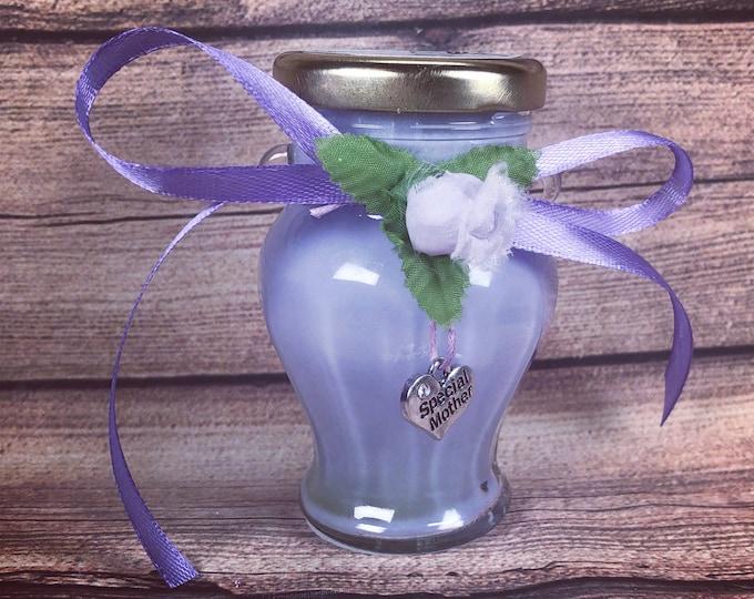 Ti voglio bene Mamma piccola giara con candela aroma e ciondolo decorativo a scelta in cera di soia oli essenziali Regalo Festa della Mamma