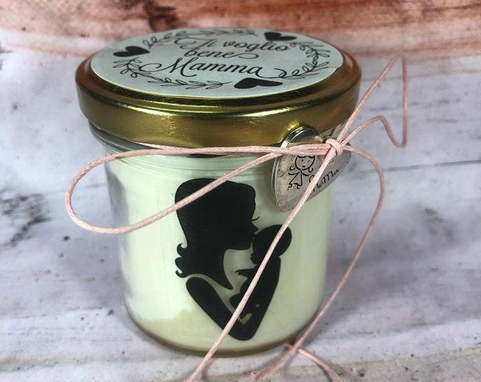 Ti voglio bene Mamma Vasetto con candela con silhouette regalo per la Mamma Festa della Mamma idea regalo mamma candela profumata