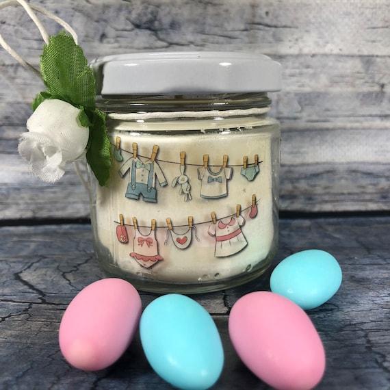 Bomboniera Battesimo o Nascita Gemelli - 25 candele di cera di soia e oli essenziali con scritte personalizzate