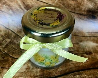 Mimosa 5 mini candele profumi misti in vasetto con tappo personalizzato Segnaposto matrimonio comunione battesimo regali fine festa