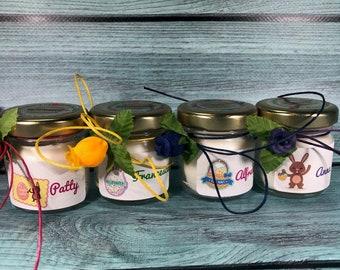 4 mini candele profumi misti segnaposto pasquale in vasetto personalizzato Decorazione tavola pasquale