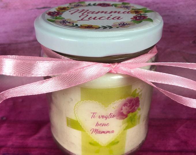 Ti voglio bene mamma candela personalizzata in cera di soia e olio essenziale con stoppino in legno idea regalo festa della mamma