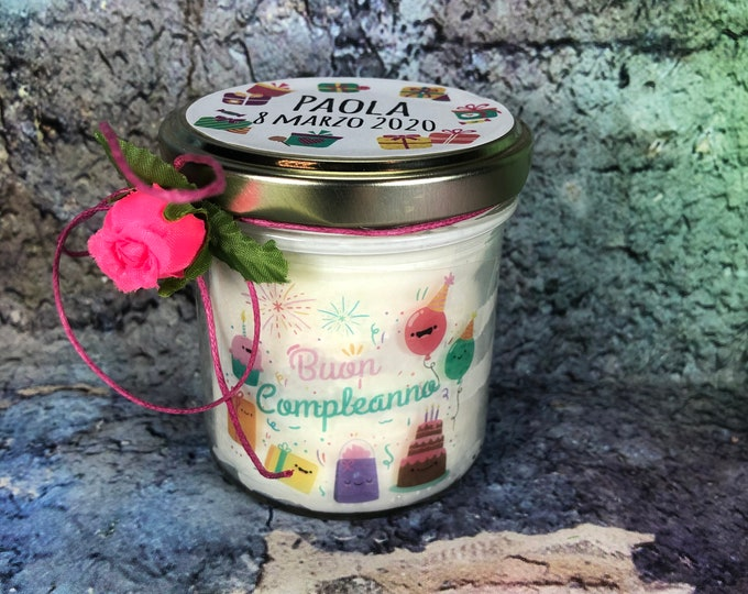 Buon Compleanno Vasetto con candela con disegno e ciondolo a scelta personalizzata Regalo di Compleanno Auguri Buon Anniversario