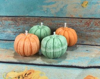 4 candeline piccole zucche di Halloween in cera di soia per segnaposto decorazione tavola regalino fine festa
