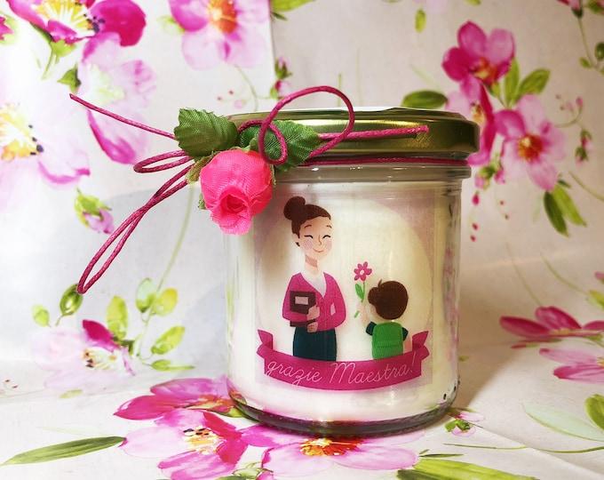 Grazie Maestra Vasetto con candela personalizzata con il nome della Maestra Regalo per la Maestra Ritorno a scuola Fine anno scolastico