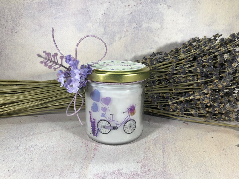 Lavender jar with candle pure soy wax and essential oils wick wooden idea  gift Aromatherapy Fragrances Provence