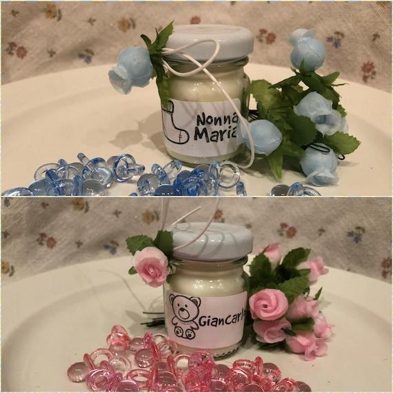 5 mini candele profumi assortiti segnaposto Battesimo o Nascita (maschio o femmina) Cerimonie in vasetto personalizzato Decorazione tavola