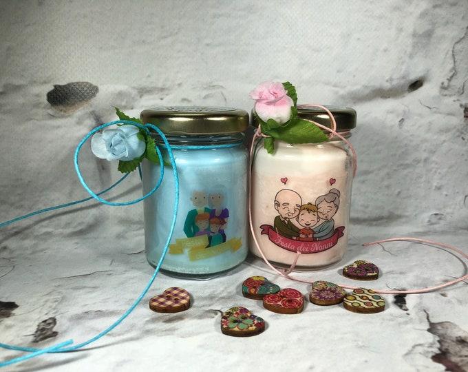 Festa dei Nonni 2 vasetti con candele in due misure a scelta di cera di soia e oli essenziali Amo i miei nonni Ti voglio bene Nonna