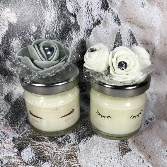 Nozze d'argento 10 mini candele unicorno in cera di soia e oli essenziali segnaposto bomboniera ricordo invitati