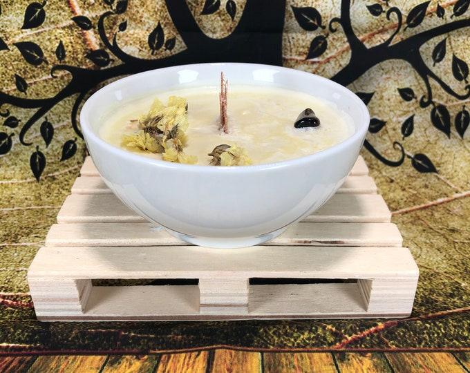 Candela con Occhio di Tigre decorazione floreale in cera di soia oli essenziali alla banana limone camomilla da meditazione profuma la casa