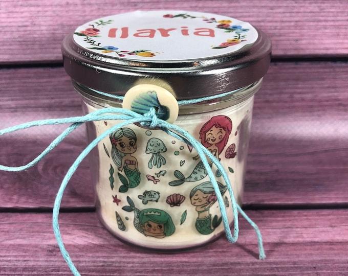 Fiabe Candela in cera di soia personalizzata con nome Regalo per amanti delle favole, principesse sirenette elfi folletti storie leggende