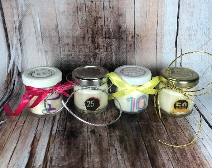 10 mini candele regali fine festa segnaposto bomboniera per anniversario di matrimonio nozze d'oro d'argento in cera di soia oli essenziali