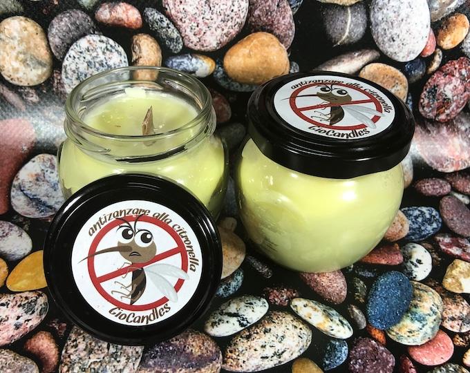 Due candele antizanzare alla citronella in cera di soia e olio essenziale di citronella con stoppino in legno allontana insetti zanzare