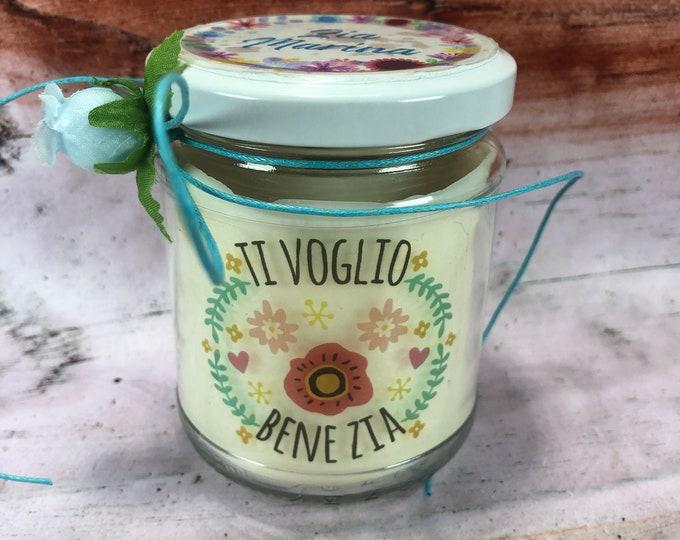 Ti voglio bene zia candela personalizzata in cera di soia olio essenziale stoppino in legno idea regalo zia compleanno regalo di natale