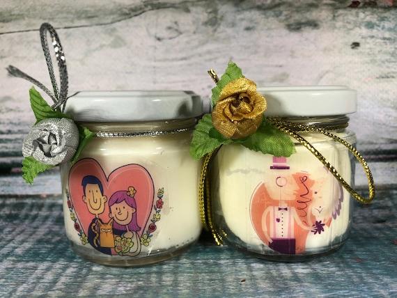 Bomboniera, Sacchetto o Segnaposto Nozze d'Oro o d'Argento - 25 vasetti confezionati con candele di cera di soia oli essenziali anniversario