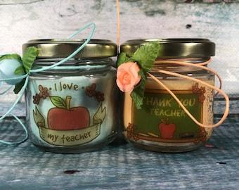 Regalo per la maestra d'inglese insegnante lingua 2 candele di cera di soia Fine anno scolastico Ritorno a scuola Regalo di Natale