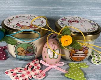 Buona Pasqua 2 vasetti con candele ai profumi assortiti di cera di soia e oli essenziali con stoppino in legno
