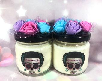 2 candele in cera di soia e oli essenziali decorazioni ispirate al Messico Dia de los Muertos Idea regalo originale per tutte le occasioni
