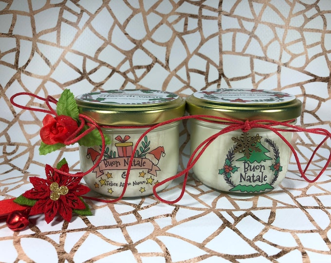 Buon Natale 2 candele ai profumi natalizi di cera di soia e oli essenziali con stoppino in legno - Regalo di Natale - Decorazione natalizia