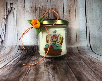 Pronta guarigione Con candela con disegno a scelta, personalizzata con il nome, in cera di soia, oli essenziali e stoppino in legno