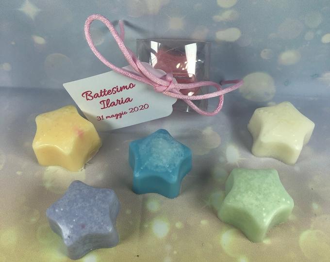 30 stelline in cera di soia confezionati in scatolina con tag per segnaposto o bomboniera battesimo comunione cresima matrimonio