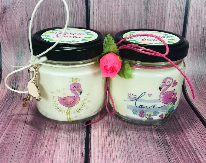 Fenicotteri rosa 2 candele di cera di soia e oli essenziali - idea regalo per compleanno anniversario per la mamma la nonna la zia