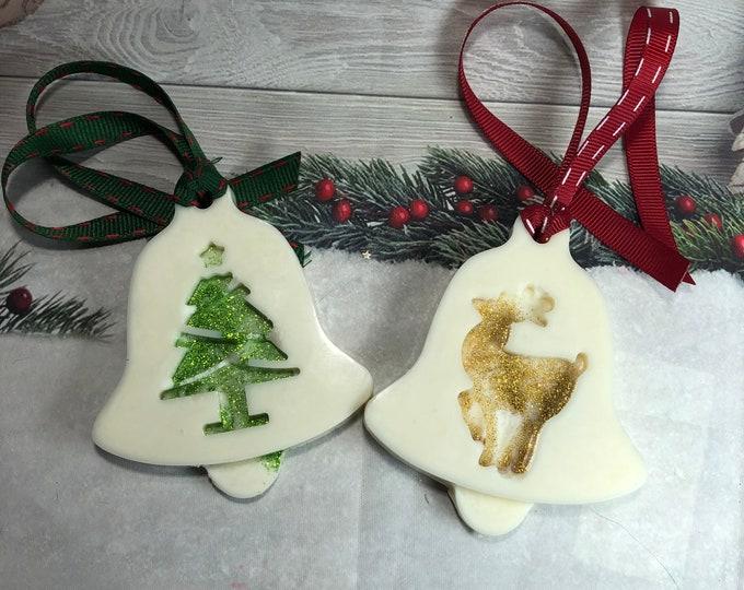 2 decorazioni profumate in cera di soia e olio essenziale con glitter regalo di natale decorazione casa omaggio ai clienti