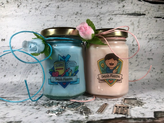 Grazie Maestra 2 vasetti con candele di cera di soia oli essenziali (nuovo tipo) Regalo per la Maestra Fine anno scolastico Ritorno a scuola