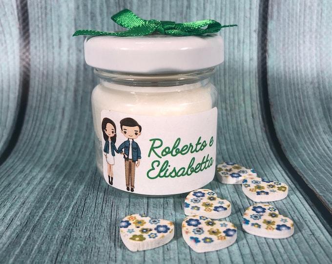10 mini candele bomboniera ricordo promessa di matrimonio in cera di soia e oli essenziali