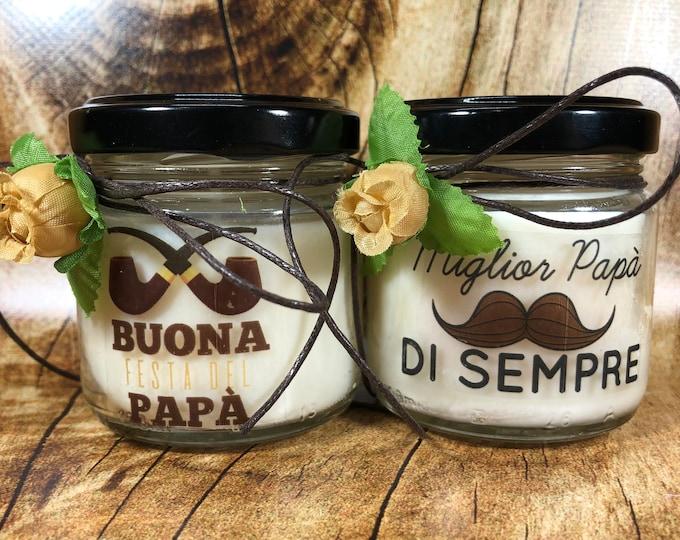 Ti voglio bene Papà 2 vasetti con candele di cera di soia e oli essenziali - Idea Regalo Festa del Papà