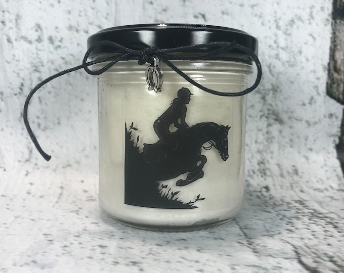 Cavalli e Ragazze Candela in cera di soia e oli essenziali con silhouette a scelta e ciondolo idea regalo appassionate di equitazione