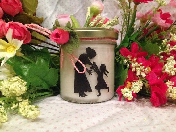 Ti voglio bene Nonna Vasetto con candela con silhouette - aroma a scelta - Regalo per la Nonna - Festa dei Nonni