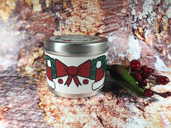 Buon Natale – Vasetto in alluminio con candela con decorazione a tema natalizio, aroma natalizio a scelta in cera di soia oli essenziali