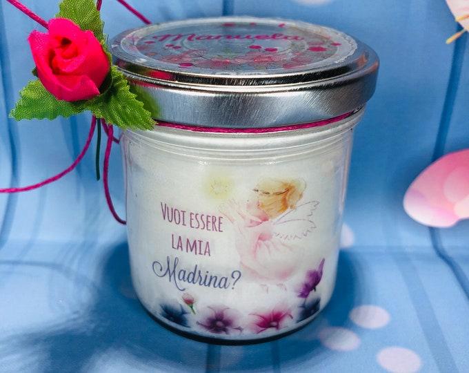 Vuoi essere la mia madrina? Vasetto con candela personalizzata in cera di soia battesimo cresima regalo alla madrina o padrino ricordo