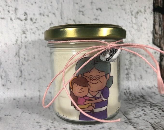 Ti voglio bene Nonna Vasetto con candela con disegno e ciondolo a scelta - aroma a scelta - Regalo per la Nonna - Festa dei Nonni