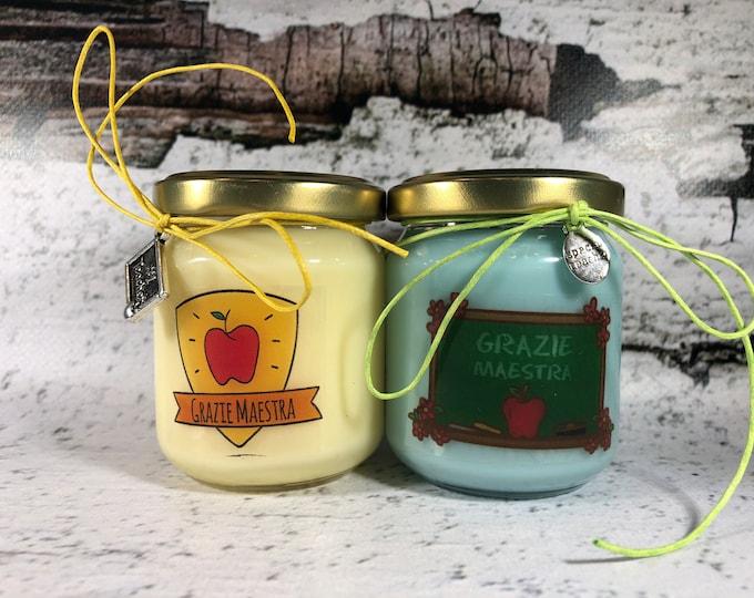 Grazie Maestra 2 vasetti con candele di cera di soia e oli essenziali - Regalo per la Maestra Fine anno scolastico Ritorno a scuola