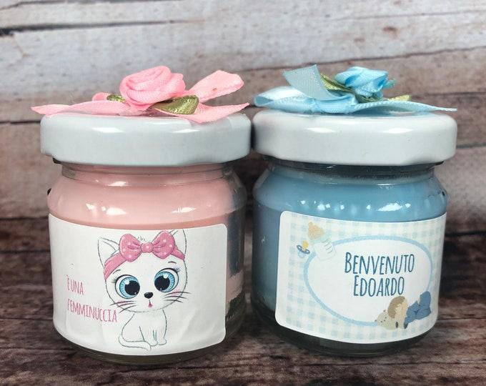 Baby shower Nascita 10 mini candele ricordino fine festa del nascituro regalino futura mamma in cera di soia e oli essenziali