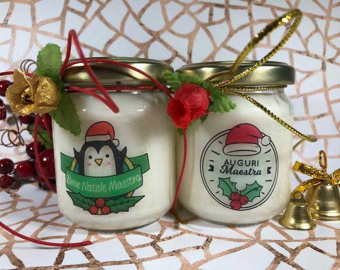 Buon Natale Maestra 2 vasetti con candele di cera di soia e oli essenziali - Regalo natalizio per la Maestra Regalo di Natale Auguri Maestra