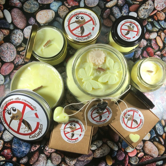 Kit completo antizanzare alla citronella in cera di soia e olio essenziale allontana zanzare insetti candele e tart con omaggio a sorpresa